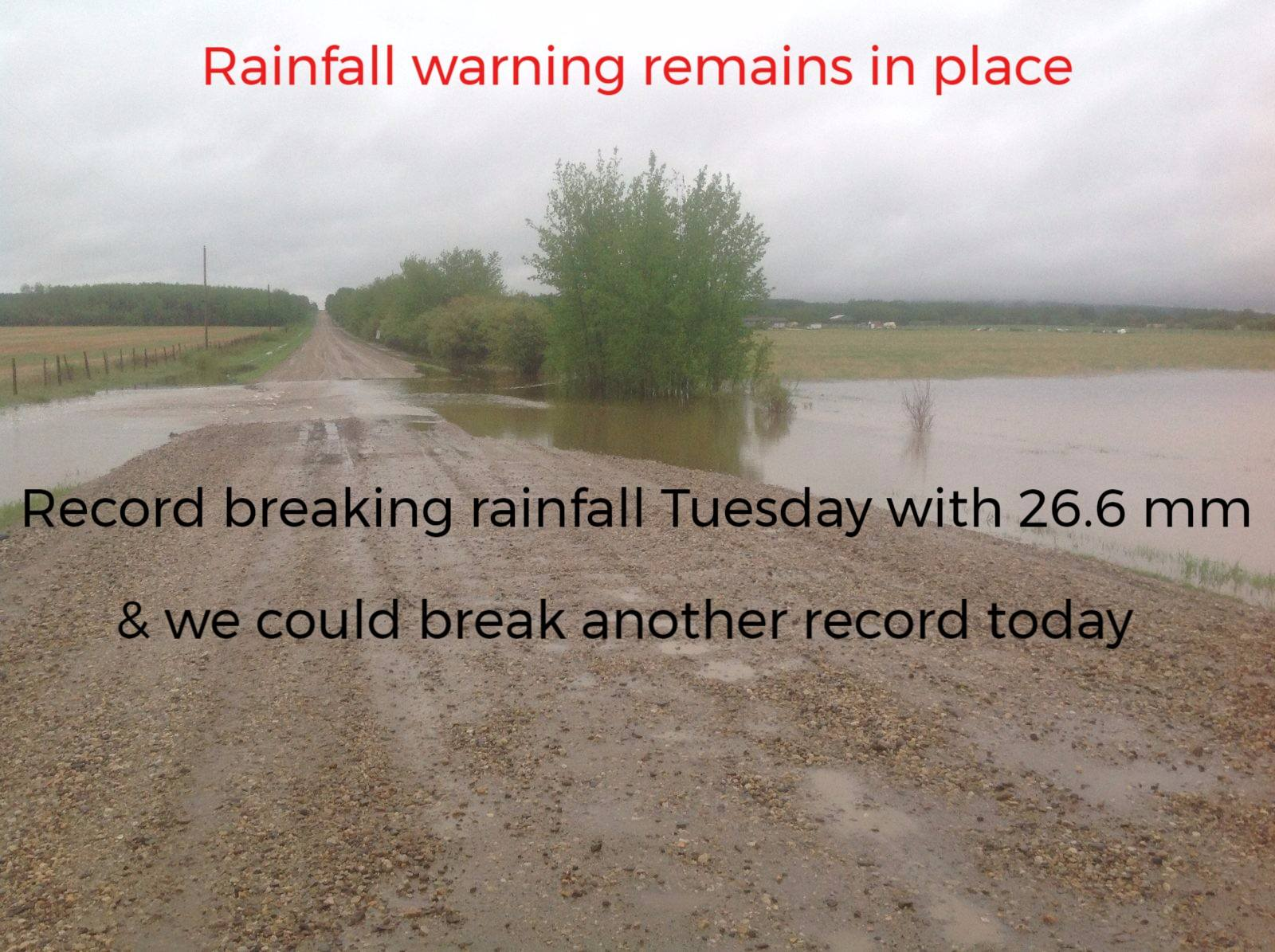 Rainfall record set Tuesday, could set another one today