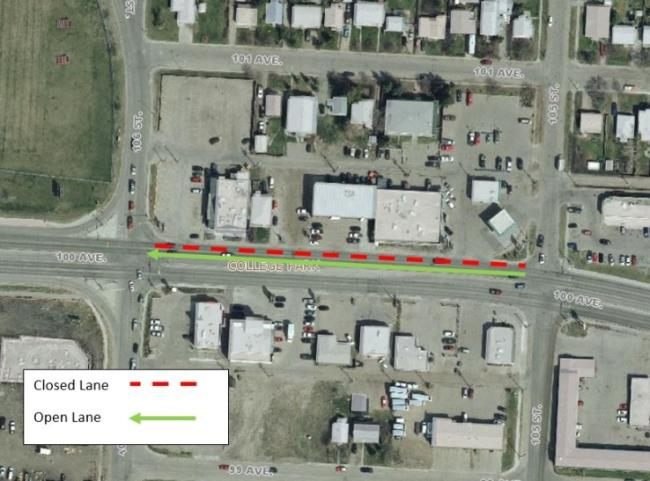 Sidewalk work forces closure of one west bound 100th avenue lane