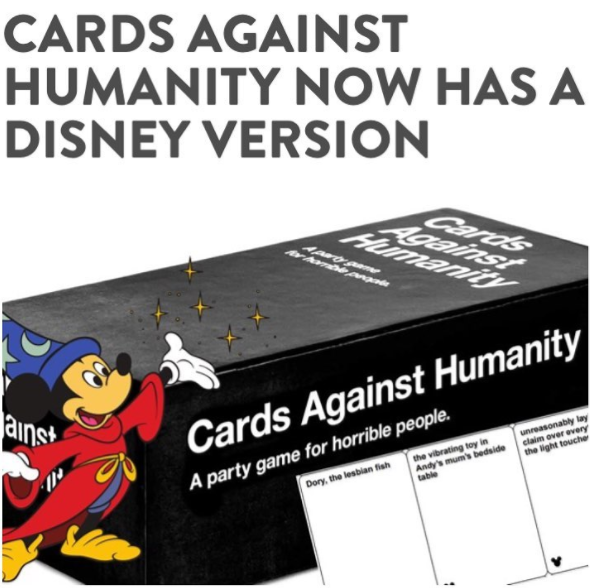 cards against humanity has a new disney version z95 3 vancouver 39 s best mix. Black Bedroom Furniture Sets. Home Design Ideas