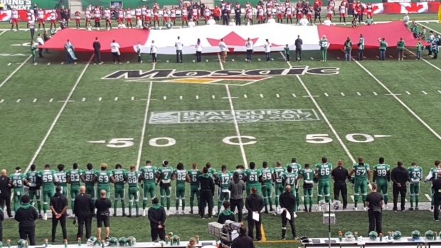 SASKATCHEWAN ROUGHRIDERS JOIN NFL PLAYERS IN ANTHEM PROTEST