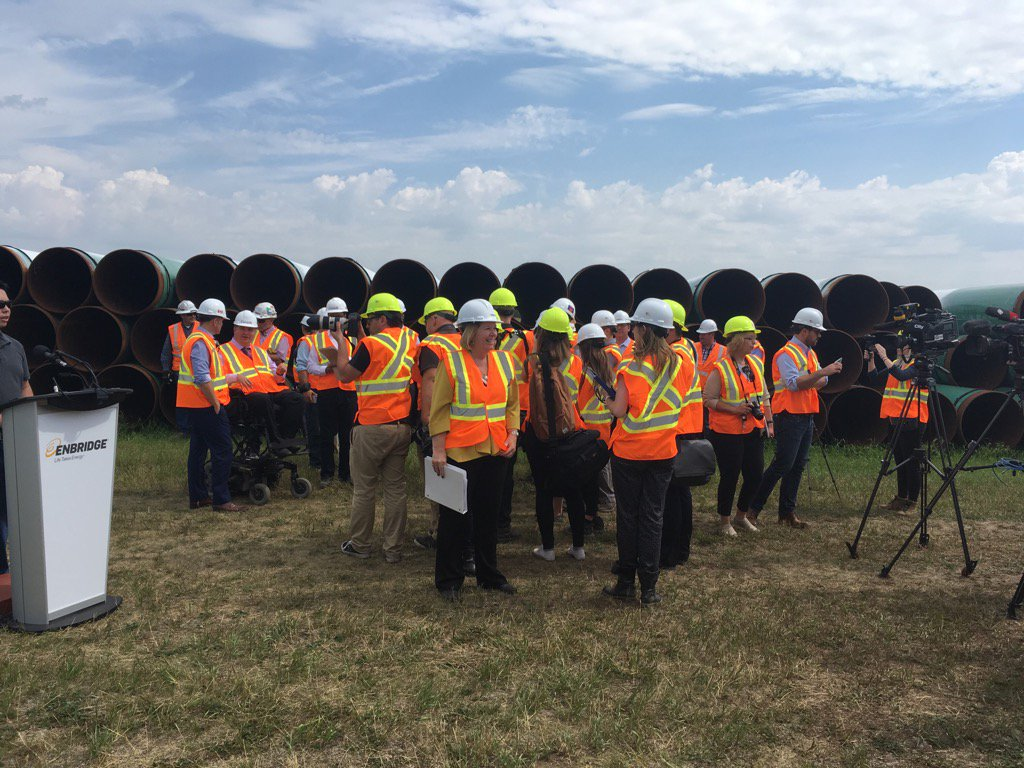 PREMIER NOTLEY TOURS THE LINE-3 CONSTRUCTION SITE IN HARDISTY