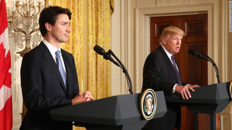 TRUMP AND TRUDEAU BOTH TALK ABOUT NORTH KOREA'S NUCLEAR MISSILE TACTICS----WITH SIMILAR YET VERY DIFFERENT VIEWPOINTS