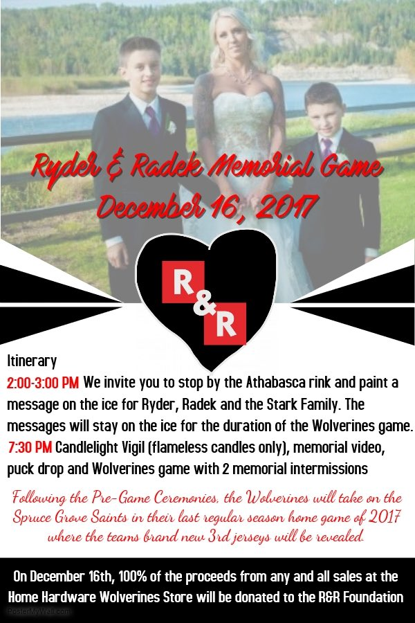 SPECIAL WHITECOURT WOLVERINES EVENT HAPPENING TOMORROW TO HONOUR RYDER AND RADEK MACDOUGALL