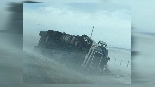 HIGH WIND GUSTS KNOCK OVER SEMIS NEAR LONGVIEW