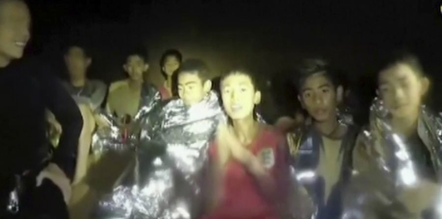 THAI SOCCER TEAM TRAPPED IN FLOODED CAVE SAID TO BE IN GOOD SPIRITS