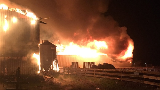 DAIRY BARN NEAR MILLET DESTROYED BY FIRE