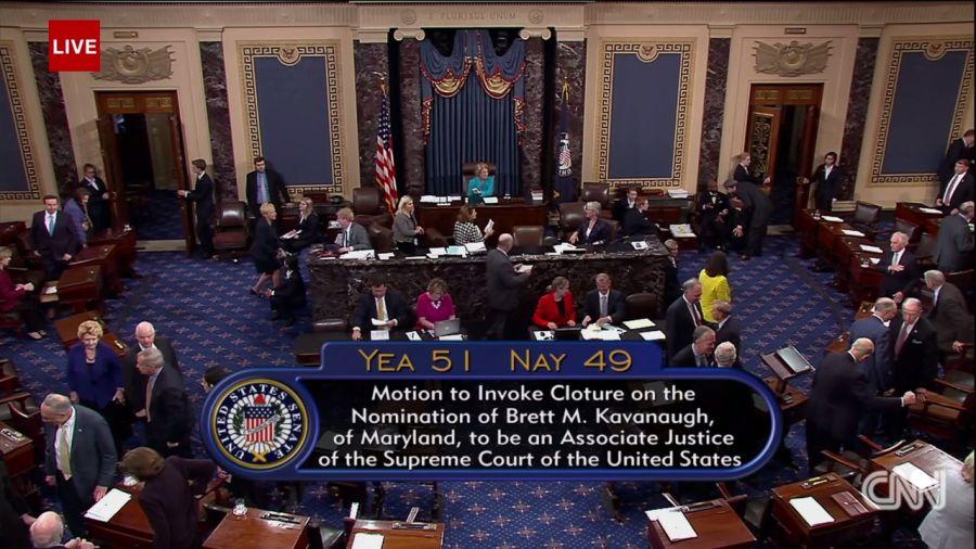 US SENATORS VOTE YEA  ON BRETT KAVANAUGH MOVING TOWARDS THE SUPREME COURT