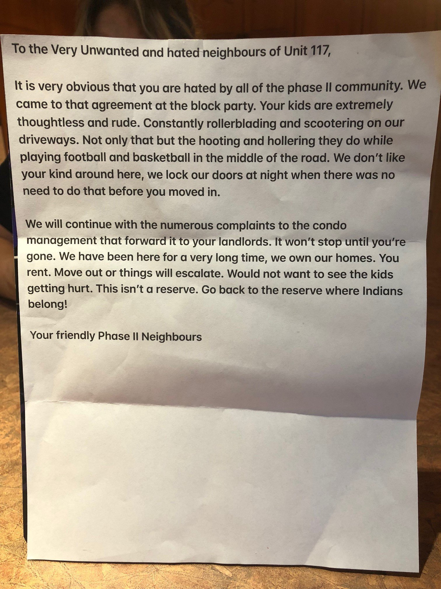 ST. ALBERT FAMILY DECIDES TO MOVE AFTER RECEIVING A THREATENING RACIST LETTER